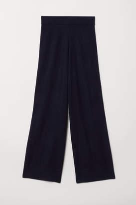 H&M Wide-leg Cashmere Pants - Blue