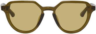 Dries Van Noten Green Linda Farrow Edition Almond Sunglasses