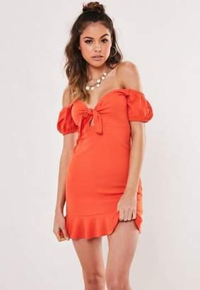 Missguided Petite Orange Tie Front Off The Shoulder Dress