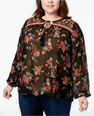 Planet Gold Trendy Plus Size Embroidered Printed Top