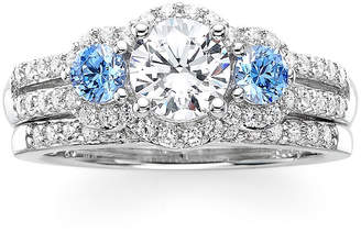 FINE JEWELRY DiamonArt White and Blue Cubic Zirconia Sterling Silver 3-Stone Bridal Ring Set