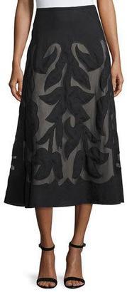NIC+ZOE Special Edition Secret Garden A-line Midi Skirt, Black $268 thestylecure.com