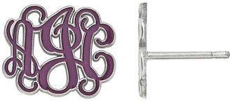 FINE JEWELRY Personalized 13mm Sterling Silver Enamel Monogram Stud Earrings