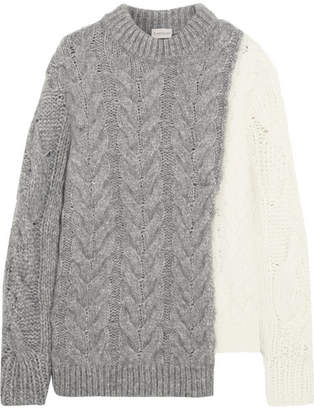 Two-tone Cable-knit Sweater - Gray