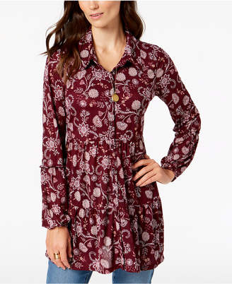 Style&Co. Style & Co Petite Printed Mesh Shirt, Created for Macy's