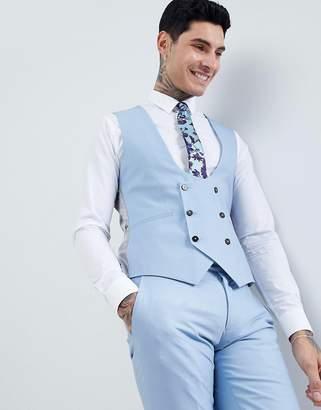 Twisted Tailor wedding super skinny vest in light blue