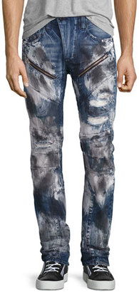 PRPS Barracuda Bleached & Distressed Denim Jeans, Dark Indigo $395 thestylecure.com