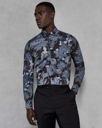 Ted Baker SPINAC Leaf print cotton shirt