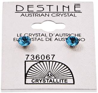 Crystallite Destine Blue Zicon Diamond Cut Earrings