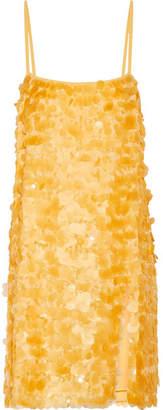Embellished Silk-georgette Mini Dress - Yellow