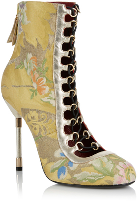 Rubeus Milano Lace Up Brocade Ankle Boot