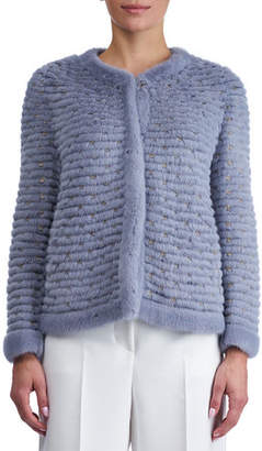 Gorski Round-Neck Layered Mink Jacket