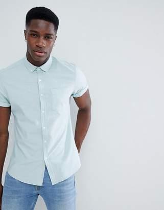 Asos Design DESIGN casual slim oxford shirt in light green