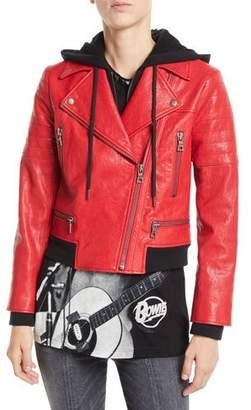Alice + Olivia AO.LA by Alice+Olivia Avril Zip-Front Leather Jacket w/ Sweatshirt Hoodie Combo