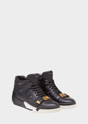 Versace Mock Croc Quilted Leather Atlas Sneakers