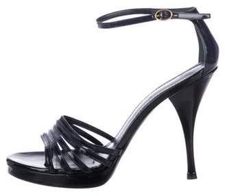 Saint Laurent Patent Leather Ankle-Strap Sandals