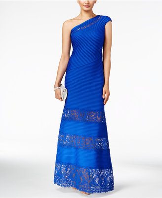 Tadashi Shoji Pintucked Lace-Trim One-Shoulder Gown $468 thestylecure.com