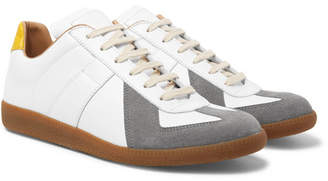 Maison Margiela Replica Leather and Suede Sneakers - White