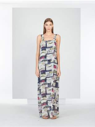 Oscar de la Renta Mykonos Postcard Print Silk Dress