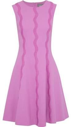 Lela Rose Crochet-appliqued Stretch-wool Crepe Dress