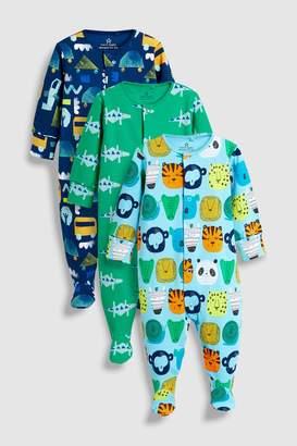 Next Boys Cobalt Multi Character Sleepsuits Three Pack (0mths-2yrs)