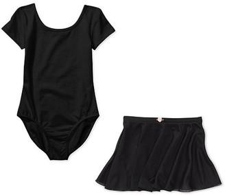 Danskin Girls' Short Sleeve Leotard with Front Liner and Skirt Combo (Little & Big Girls)