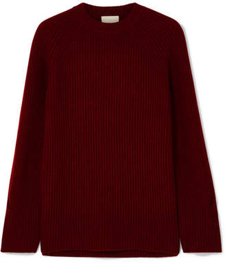 J.Crew Verde Ribbed-knit Cashmere Sweater - Burgundy