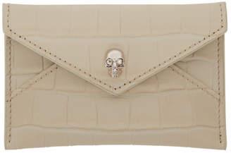 Alexander McQueen White Croc Skull Envelope Card Holder