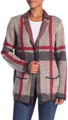 Joseph A Notch Lapel Marled Stripe Cardigan Coat