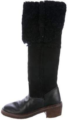 Maison Margiela Shearling Knee-High Boots