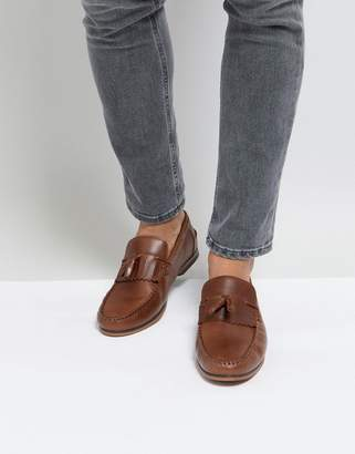 Asos DESIGN Tassel Loafers In Tan Leather With Fringe And Natural Sole