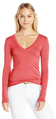 Three Dots Women's L/s Deep V-Neck