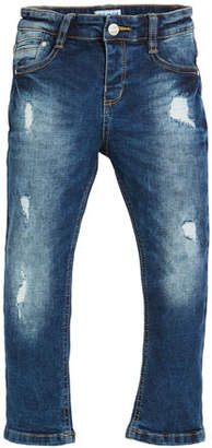 Mayoral Straight-Leg Loose Distressed Jeans, Size 3-7