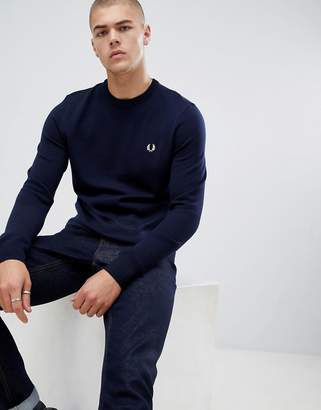 Fred Perry crew neck merino knitted sweater in navy