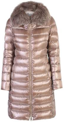 Herno Brown Fur Detail Padded Jacket