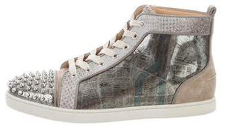 Christian Louboutin Patent Leather City Print High-Top Sneakers