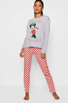 boohoo Disney Minnie Candy Cane Stripe PJs