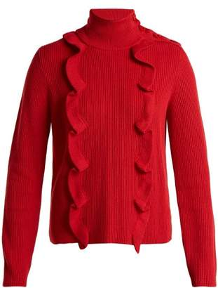 RED Valentino High Neck Cotton Sweater - Womens - Red