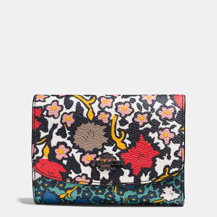 Coach  COACH Coach Medium Double Flap Wallet In Mixed Yankee Floral Print Canvas