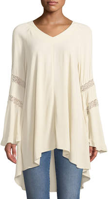 Lumie Lace-Striped Sleeve Flared Tunic