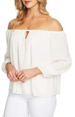 CeCe Embroidered Off-The-Shoulder Blouse