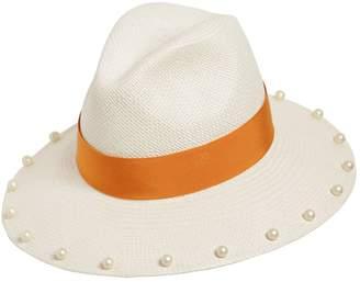 Federica Moretti Panama Hat W/ Imitation Pearls