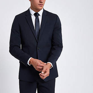 River Island Dark blue slim fit suit jacket