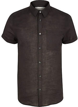 River Island Black linen slim fit short sleeve shirt