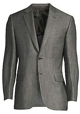 Brioni Men's Herringbone Linen-Blend Jacket