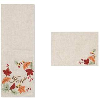 Gerson Company Fall Embroidered Leaf Table Runner and Placemats (Set of 5)