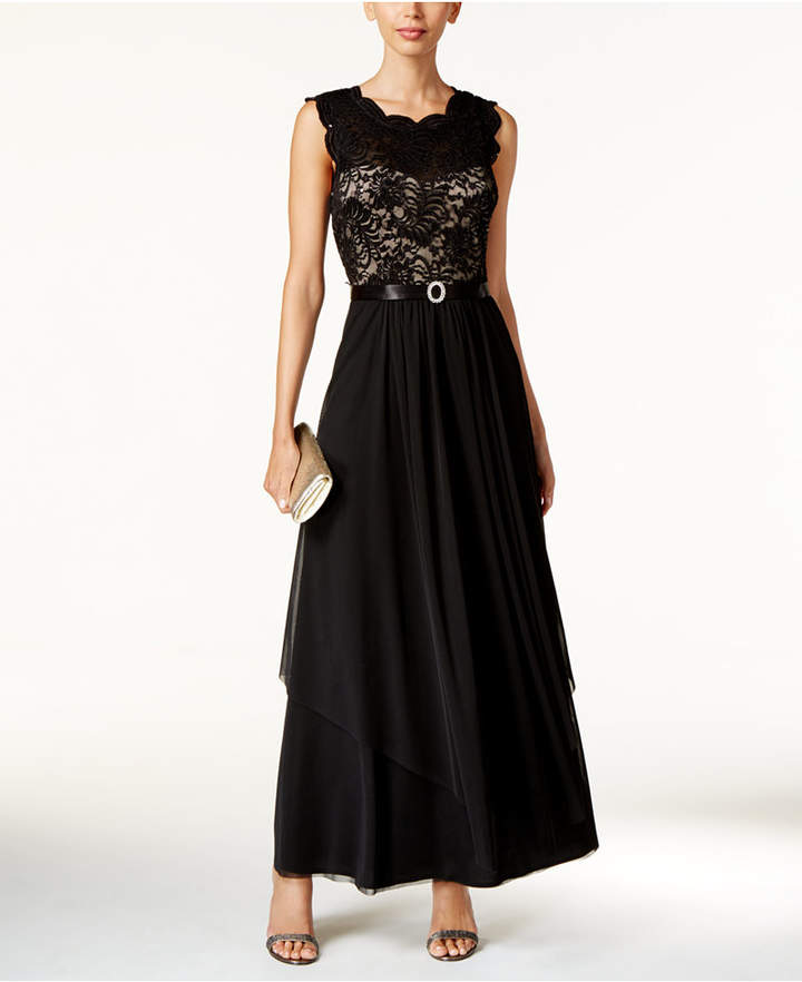 R & M Richards Sequined Lace Chiffon Gown 4