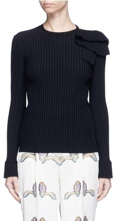 Emilio Pucci Ruffle cutout shoulder rib knit top