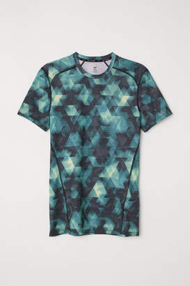 H&M Short-sleeved Sports Shirt - Turquoise