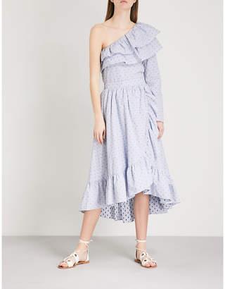 Maje Johno frilled cotton skirt